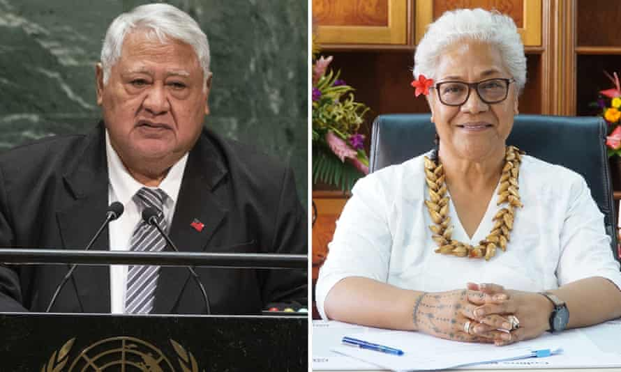 Tuilaepa Sailele Malielegaoi, były premier Samoa i obecny lider opozycji, na zdjęciu (po lewej) w 2019 r. oraz jego następczyni i pierwsza kobieta premier Samoa, Fiami Naomi Matava.